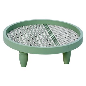 Cosy @ Home Plateau Groen 30x30xh11cm Rond Hout