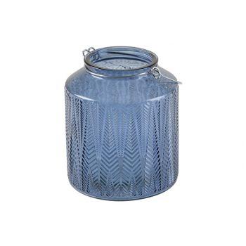 Cosy @ Home Lantaarn Arrow Blauw 14x14xh16cm Glas
