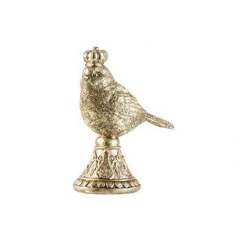 Cosy @ Home Vogel Crown Goud 12x7xh16,5cm Hout