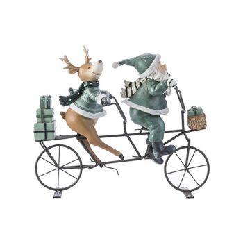 Cosy @ Home Kerstman Fiets Deer Grijs-groen 24,8x9xh