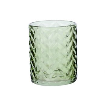 Cosy @ Home Theelichtglas Fleche Groen D10xh12cm Gla
