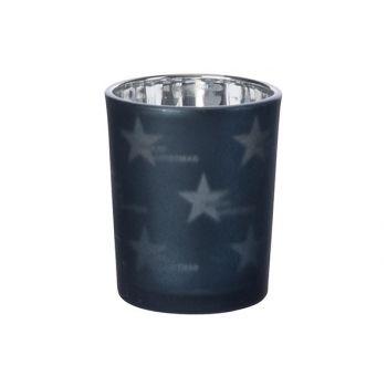 Cosy @ Home Theelichtglas Stars Nachtblauw D6xh7cm G