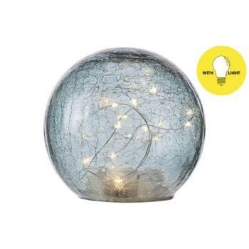 Cosy @ Home Bal Led Lamp Blauw D15xh14cm Glas