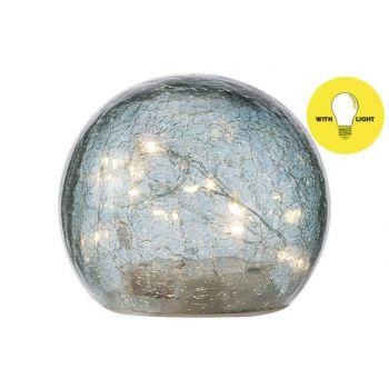 Cosy @ Home Bal Led Lamp Blauw D12xh10cm Glas