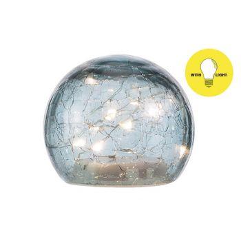Cosy @ Home Bal Led Lamp Blauw D10xh9cm Glas