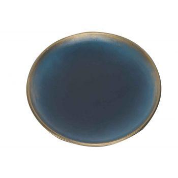 Cosy @ Home Bord Brush Goud Nachtblauw 40x40xh3,5cm