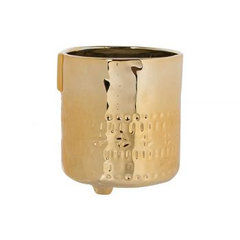 Cosy @ Home Cachepot Face Goud 9,5x9,5xh10,8cm Aarde