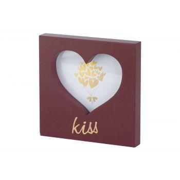 Cosy @ Home Fotokader Heart Kiss Bordeaux 15x15xh2cm