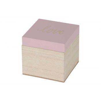 Cosy @ Home Doos Love Pink Natuur 10,1x10xh9,5cm Hou