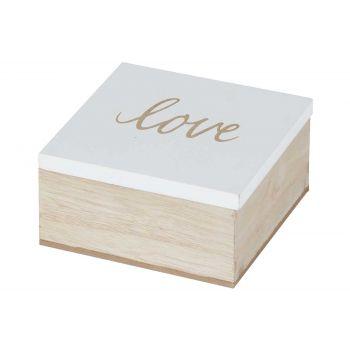 Cosy @ Home Doos Love White Natuur 10x10xh5cm Hout