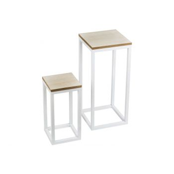 Cosy @ Home Tafel Set2 Wit Vierkant Metaal 29x29xh62
