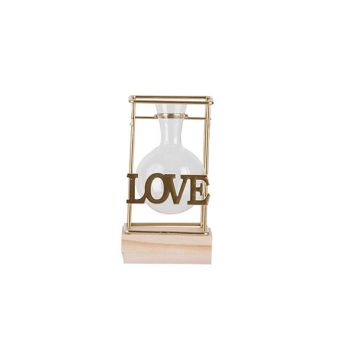 Cosy @ Home Vaas Combi Wood Glass D5,7 H9,5 Cm Love