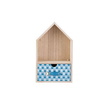 Cosy @ Home Kastje Fish Blue Natuur 15x11xh25cm Hout