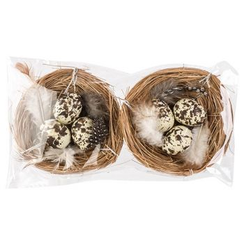 Cosy @ Home Nest Set2 With Eggs Natuur D8cm