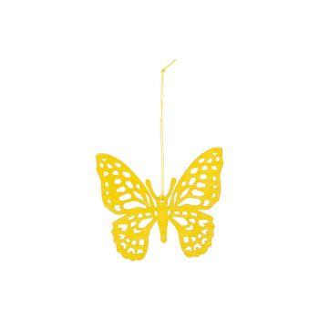 Cosy @ Home Vlinder Hanger Geel 12xh11cm Hout