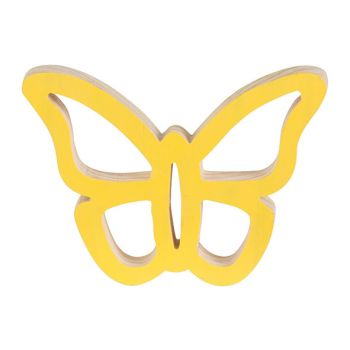 Cosy @ Home Vlinder Hanger Geel 14x11xh2cm Hout