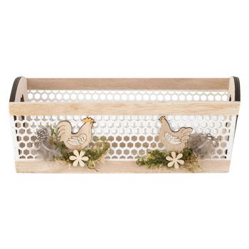 Cosy @ Home Mand Chickens Natuur 24x15xh9cm Hout