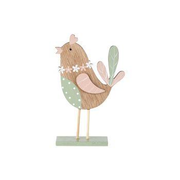 Cosy @ Home Vogel Mint Pink Natuur 11x4xh18cm Hout