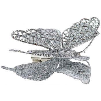 Cosy @ Home Vlinder Op Clip Glitter Zilver 15cm