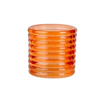 Cosy @ Home Theelichthouder Fluo Oranje D6xh6cm Glas