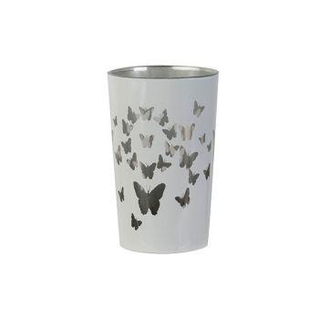 Cosy @ Home Theelichthouder Butterflies Wit D7xh11cm