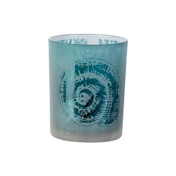 Cosy @ Home Theelichthouder Shell Blauw D10xh12cm Gl