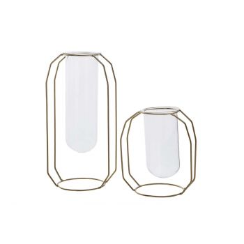 Cosy @ Home Vaas Metal Frame Glass Tube D6 H12 Cm Go