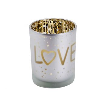 Cosy @ Home Theelichthouder Love Gold Wit D10xh12cm
