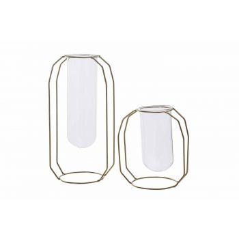 Cosy @ Home Vaas Metal Frame Glass Tube D6 H18 Cm Go