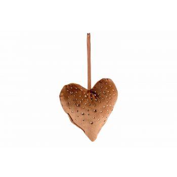 Cosy @ Home Hanger Heart Strass Caramel 13x3xh13cm P