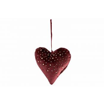 Cosy @ Home Hanger Heart Strass Bordeaux 13x3xh13cm