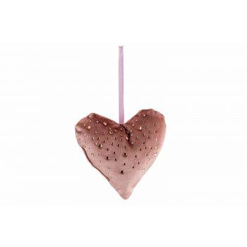 Cosy @ Home Hanger Heart Strass Oud Roze 13x3xh13cm