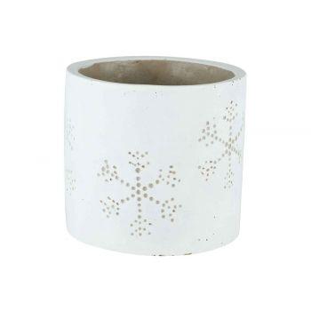 Cosy @ Home Bloempot Snowflake Wit 14x14xh13cm Cil