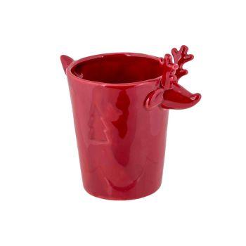 Cosy @ Home Bloempot Deer Rood 12,8x8,6xh12,4cm Aard