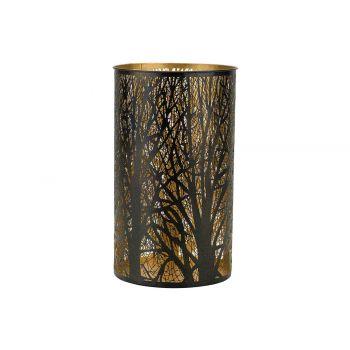 Cosy @ Home Windlicht Trees Gold Zwart 14x14xh26cm M