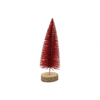 Cosy @ Home Kerstboom Glitter Wood Base Rood 8x8xh25