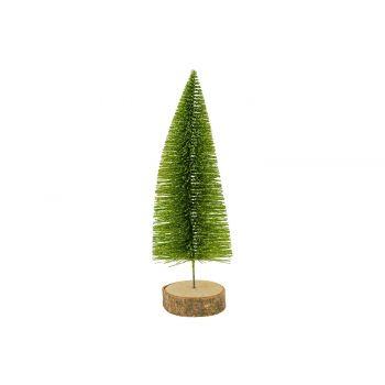 Cosy @ Home Kerstboom Glitter Wood Base Groen 8x8xh2