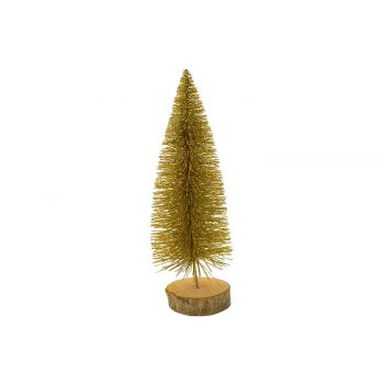 Cosy @ Home Kerstboom Glitter Wood Base Goud 8x8xh25