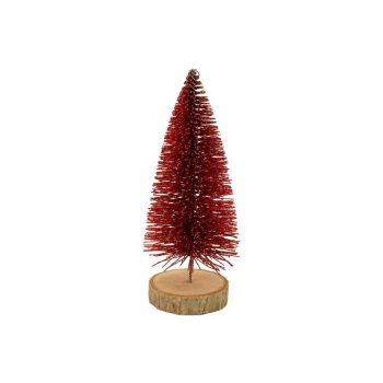 Cosy @ Home Kerstboom Glitter Wood Base Rood 6x6xh15