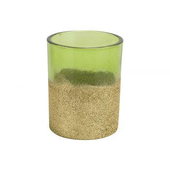 Cosy @ Home Theelichthouder Glitter Groen 8x8xh10cm
