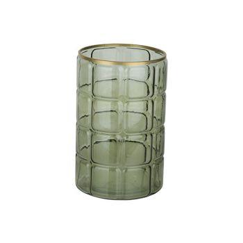 Cosy @ Home Windlicht Groen 15x15xh23cm Rond Glas