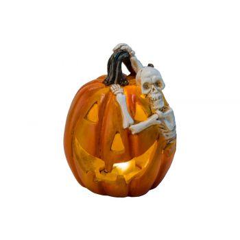 Cosy @ Home Pompoen Skelet Led  Oranje 9,5x8,5xh11cm