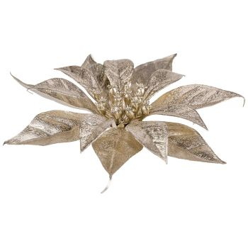Cosy @ Home Kerstroos Clip Metallic Glitter Champagn