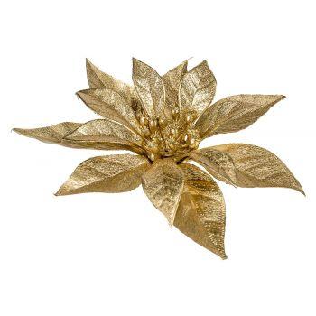 Cosy @ Home Kerstroos Clip Metallic Glitter Goud 18x