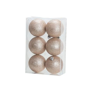 Cosy @ Home Kerstbal Set6 Glitter Roze D8cm Kunststo