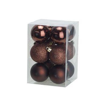 Cosy @ Home Kerstbal Set12 Mix Chocolat D6cm Kunstst