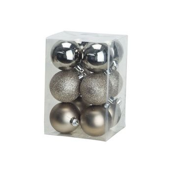Cosy @ Home Kerstbal Set12 Mix Champagne D6cm Kunsts