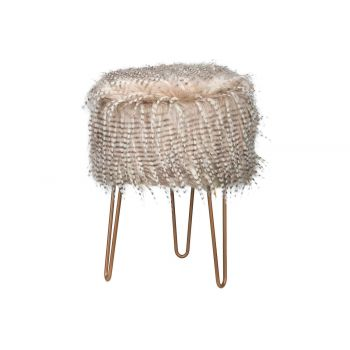 Cosy @ Home Kruk Feathers Beige 32x32xh42cm Hout