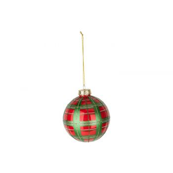 Cosy @ Home Kerstbal Checkers Rood Groen D10cm Glas