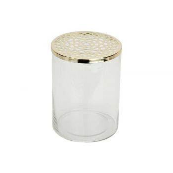 Cosy @ Home Vaas Metal Lid Transparant 15x15xh20cm C
